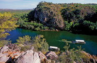 Stop at Katherine town and then travel out to Katherine Gorge in nitmiluk National Park and further down to Mataranka and Elsey national Park on the Explorers Way - Stuart Highway.